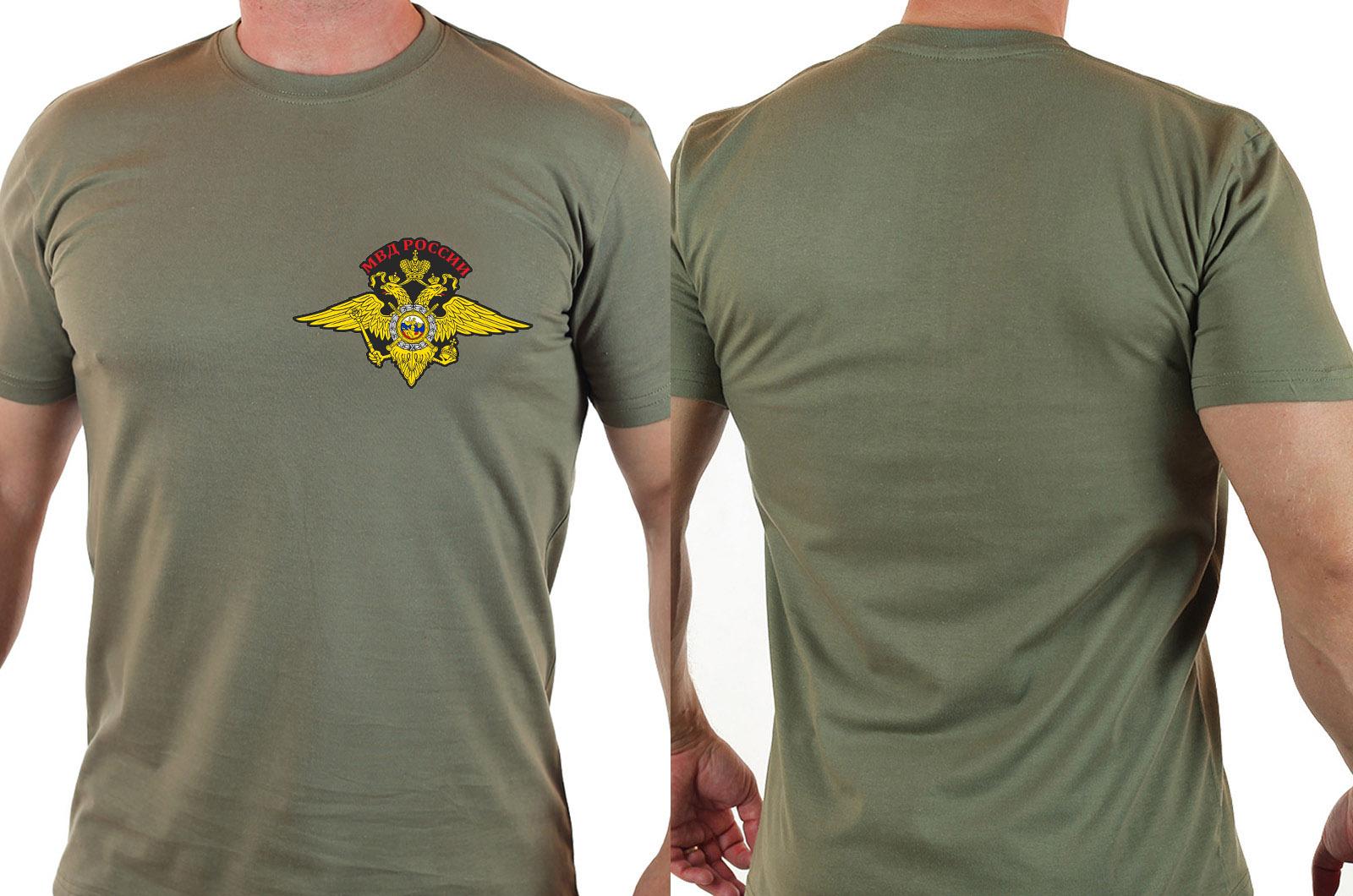 Мужская футболка с вышитым гербом МВД России с доставкой