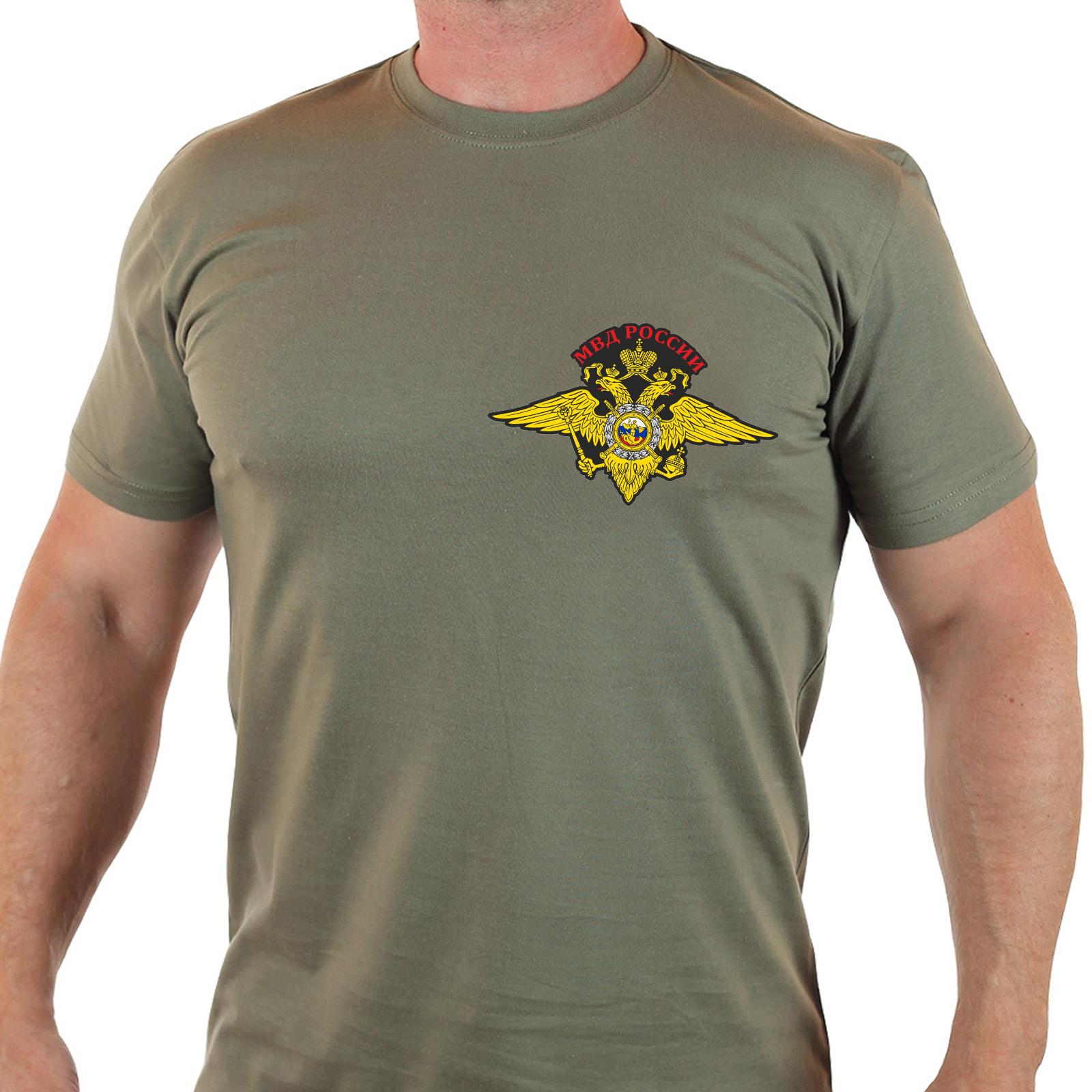 Мужская футболка с вышитым гербом МВД России