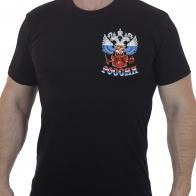 Мужская футболка с вышитым Гербом РФ