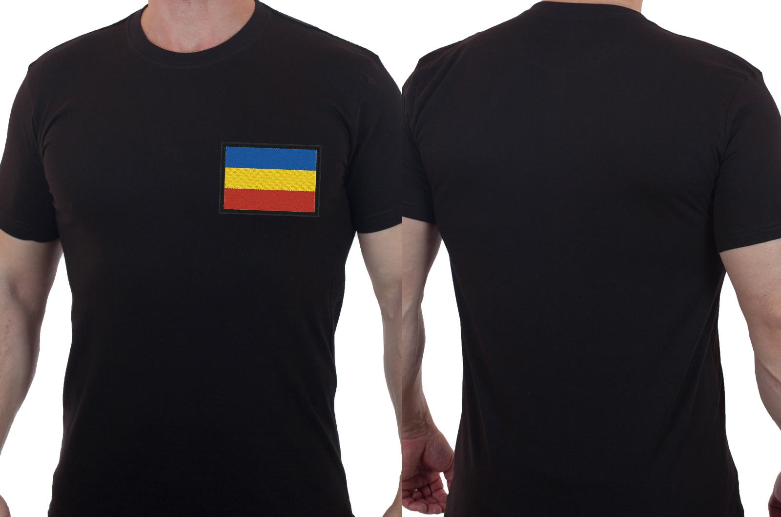 Мужская футболка с вышитым Казачьим флагом