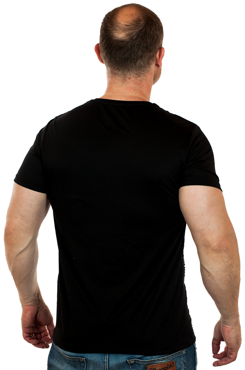 Дизайнерская черная мужская футболка от международного бренда SPLASH