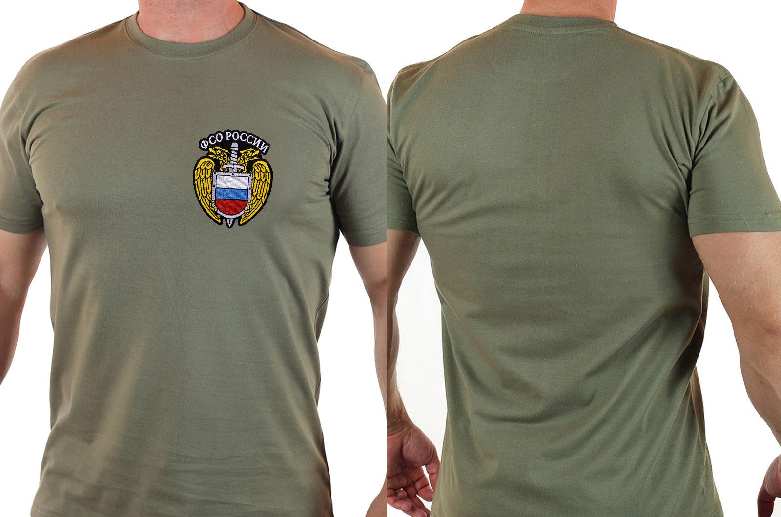 Мужская футболка в цвете хаки с эмблемой ФСО купить с доставкой