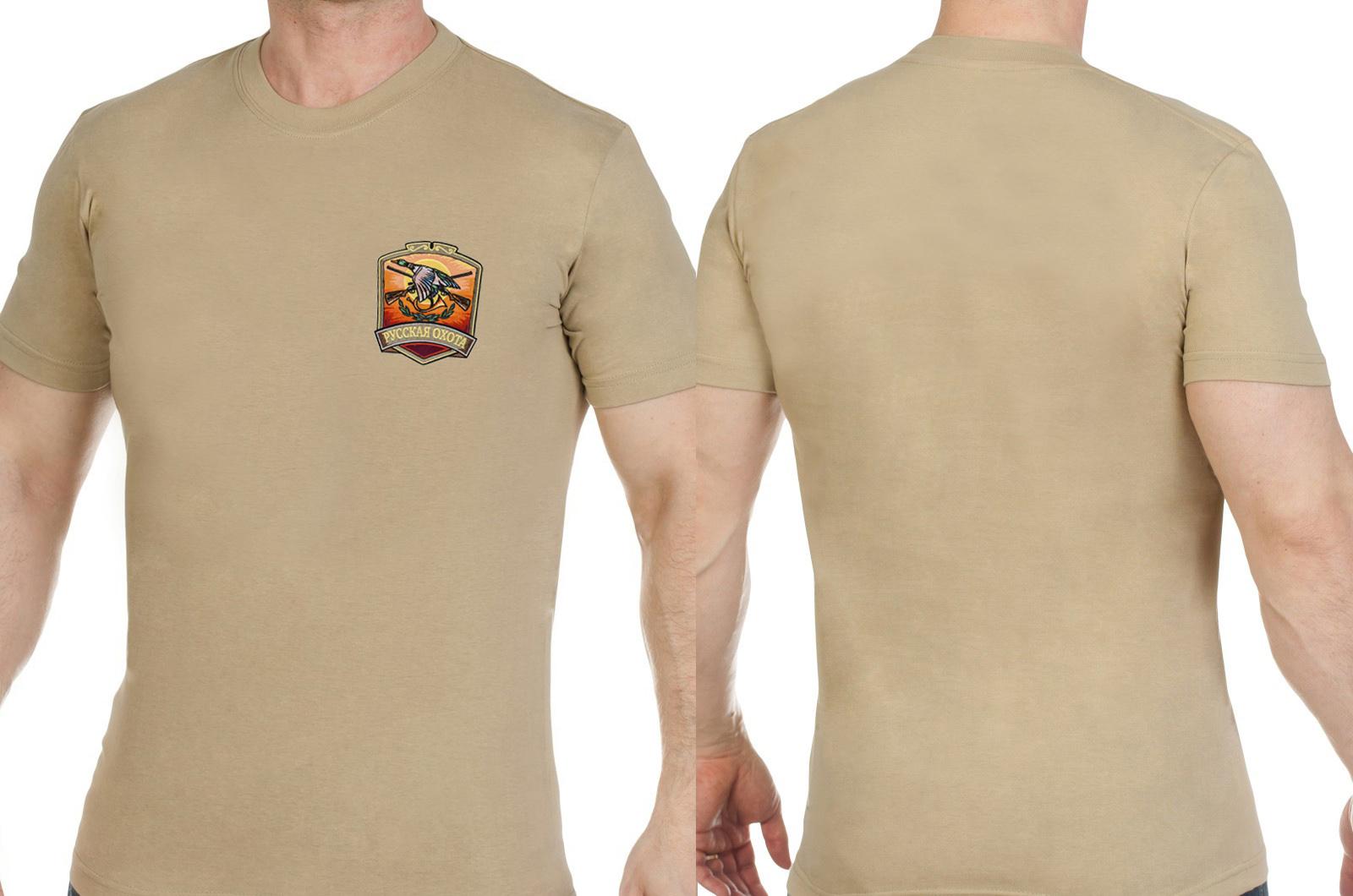 Мужская хлопковая футболка с вышитым шевроном Русская Охота - заказать оптом