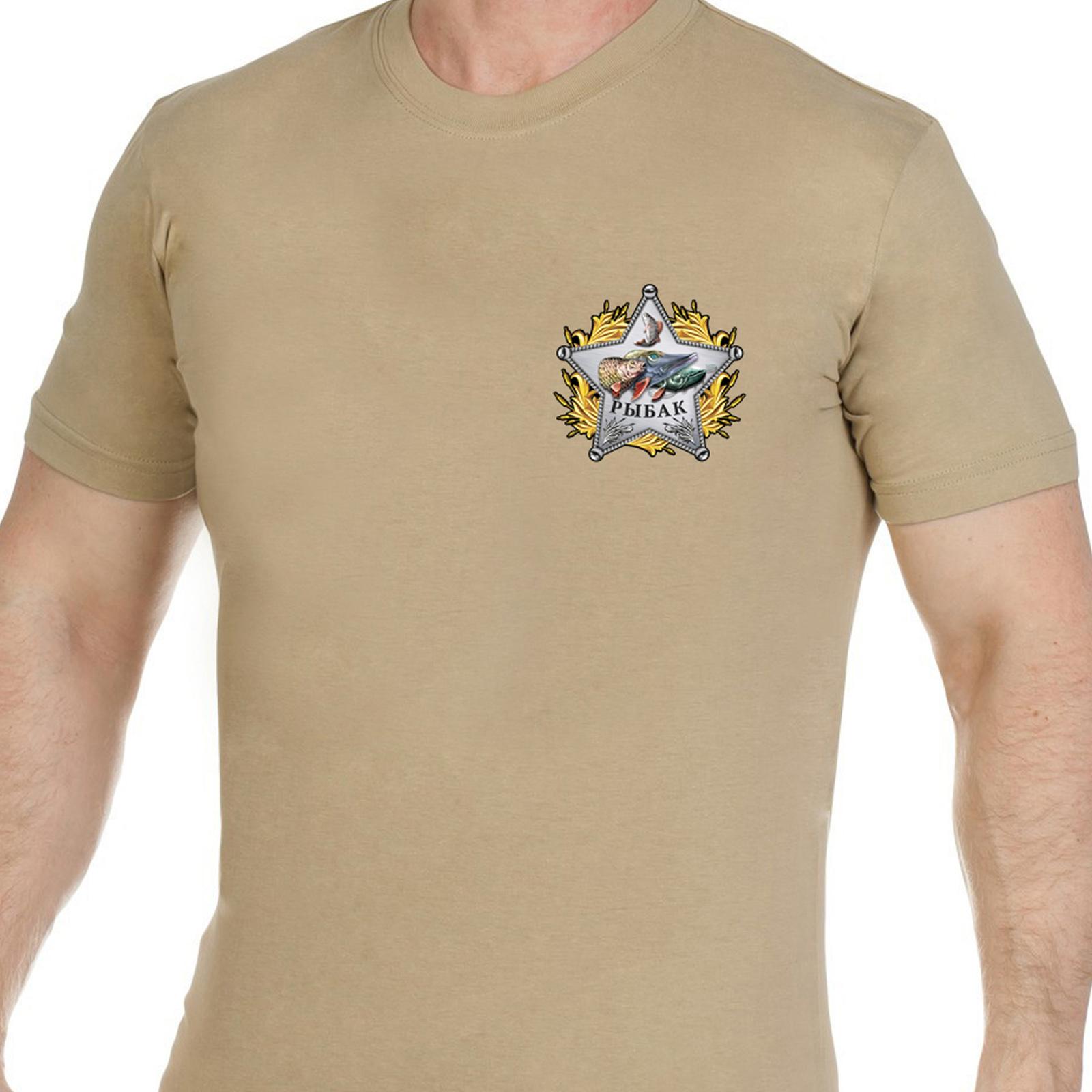 Купить мужскую хлопковую футболку со звездой рыбака