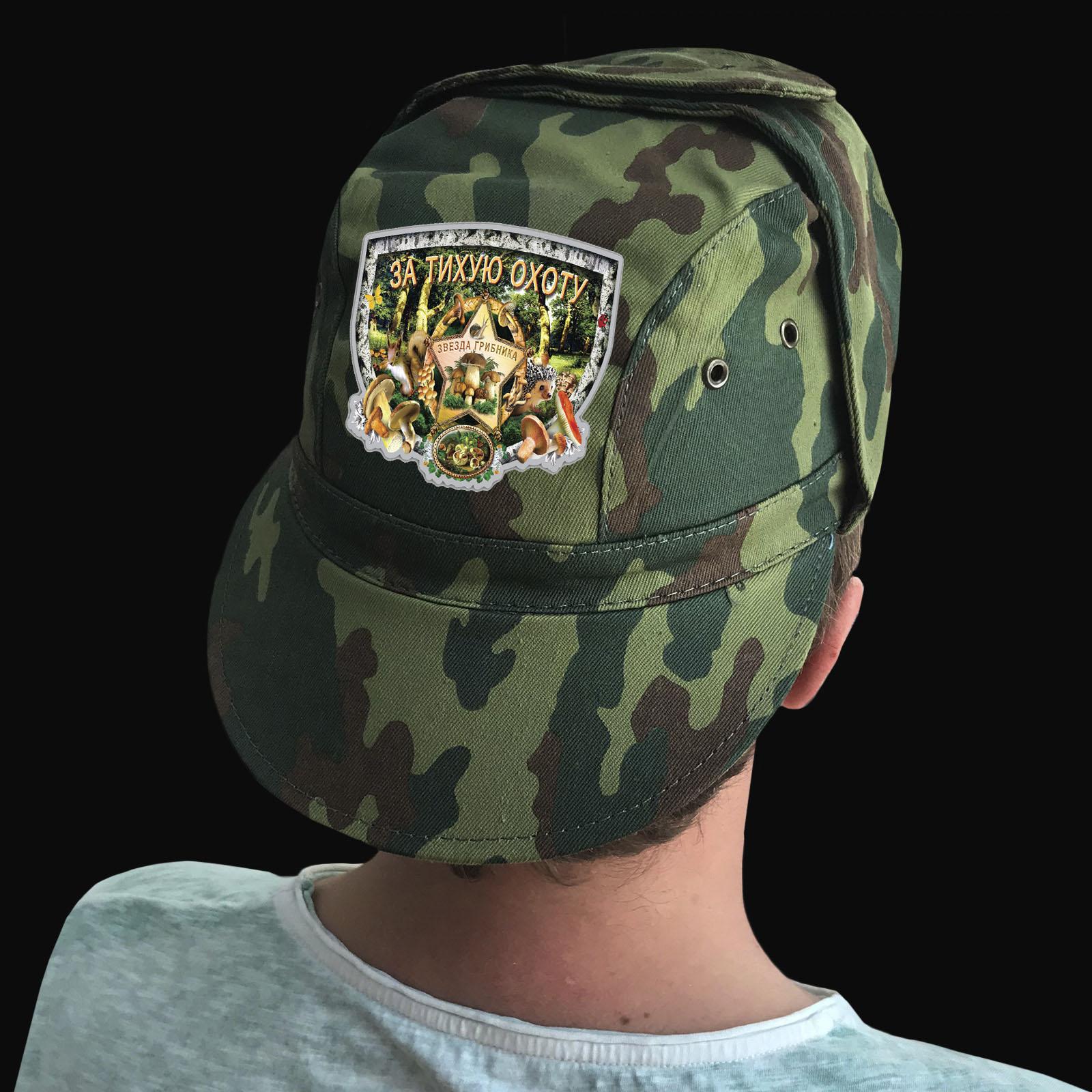 Купить мужскую камуфляжную кепку с термотрансфером грибнику оптом или в розницу