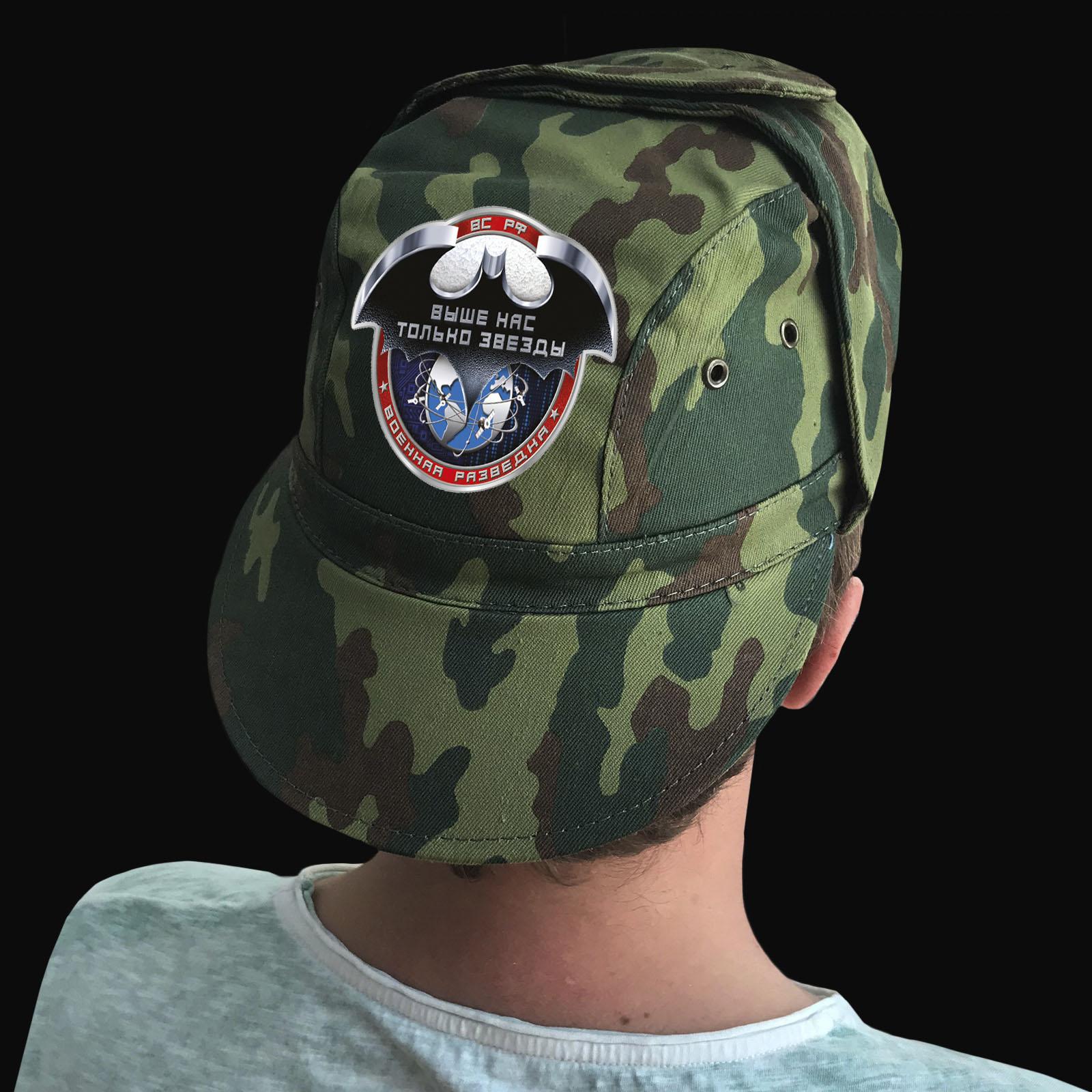 Купить мужскую кепку-камуфляж с термотрансфером Военная Разведка РФ по низкой цене