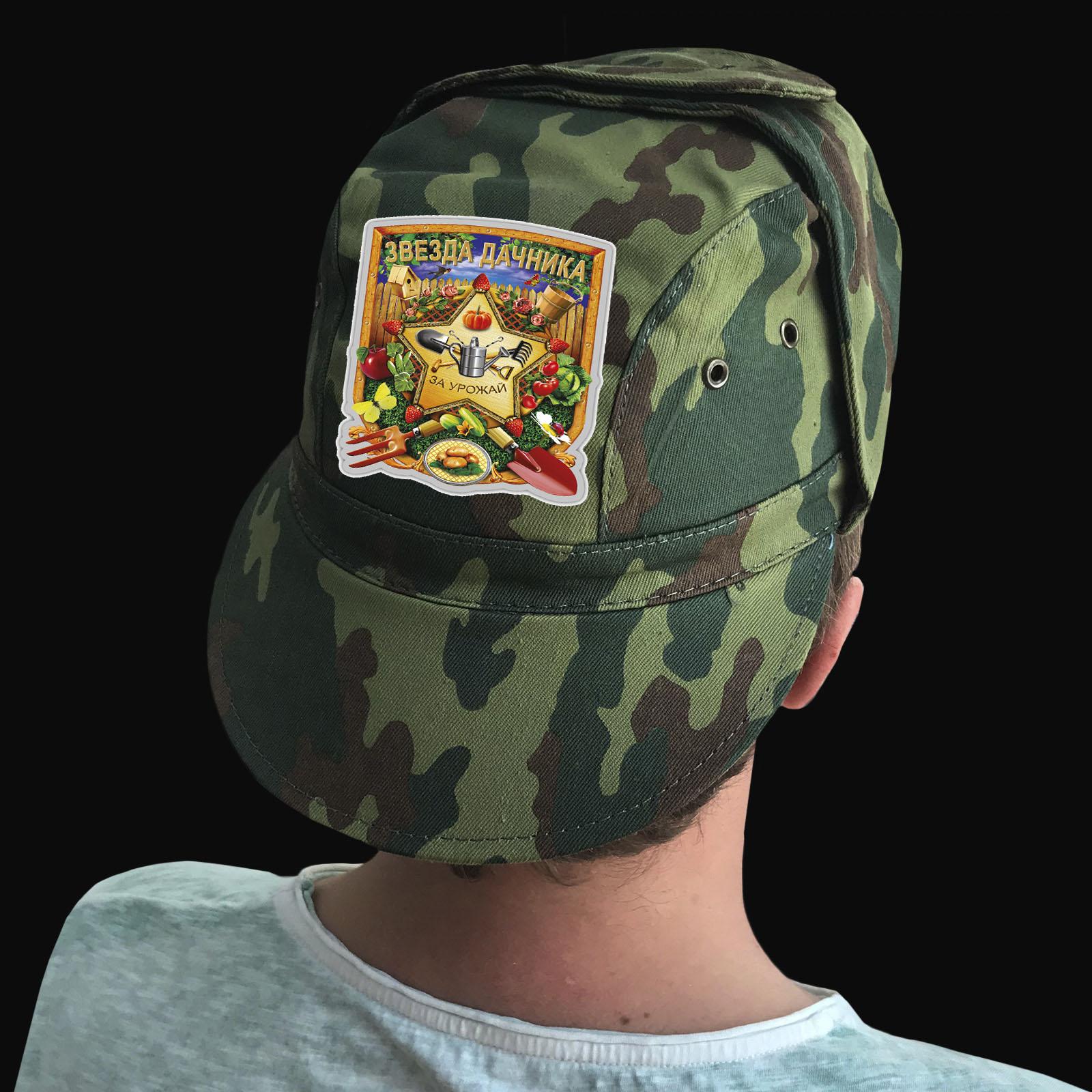 Купить мужскую кепку камуфляж с термотрансфером Звезда Дачника с доставкой