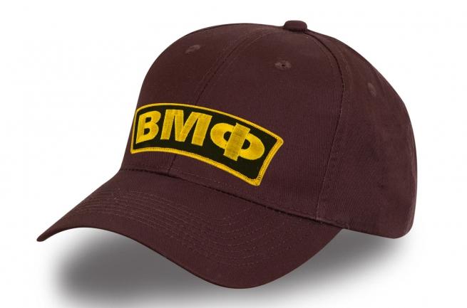 Мужская коричневая бейсболка ВМФ с авторской вышивкой