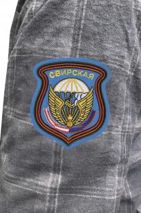 Мужская крутая рубашка с вышитым шевроном 98 Свирская дивизия - купить в подарок