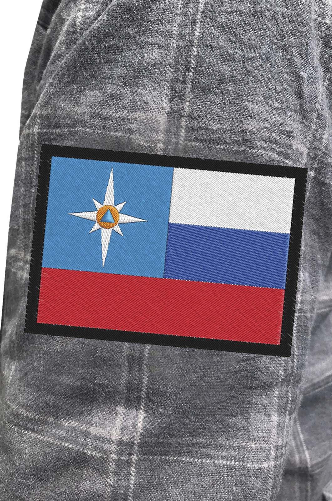 Мужская крутая рубашка с вышитым шевроном МЧС РФ - купить с доставкой