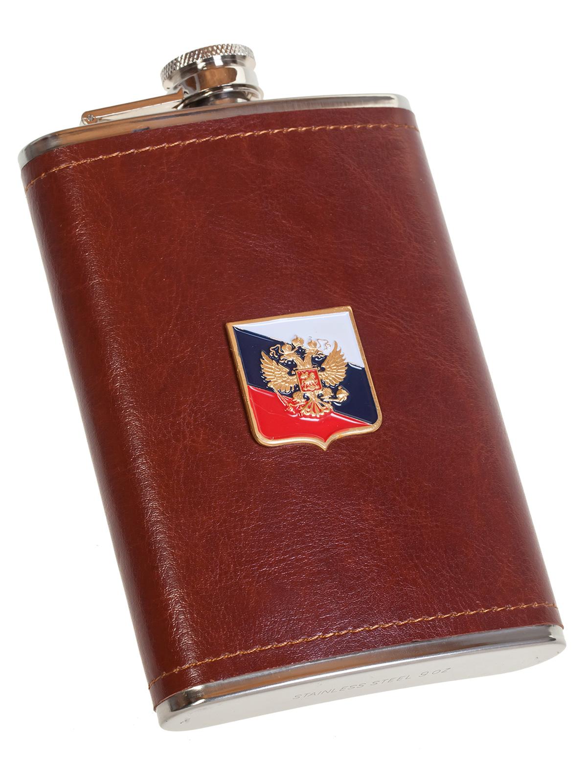 Мужская оригинальная фляга с Гербом РФ - купить в розницу