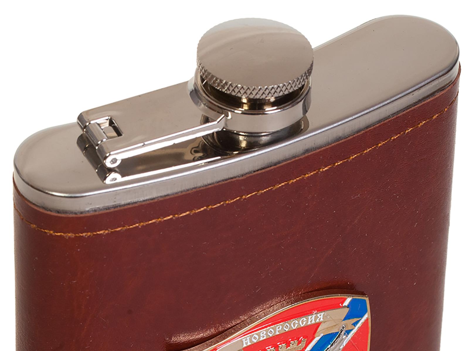 Мужская оригинальная фляга с металлической накладкой Новороссия - купить оптом