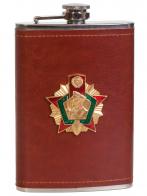 Мужская оригинальная фляга с металлической накладкой Погранвойска