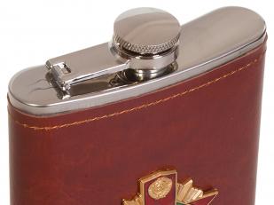 Мужская оригинальная фляга с металлической накладкой Погранвойска - купить в подарок