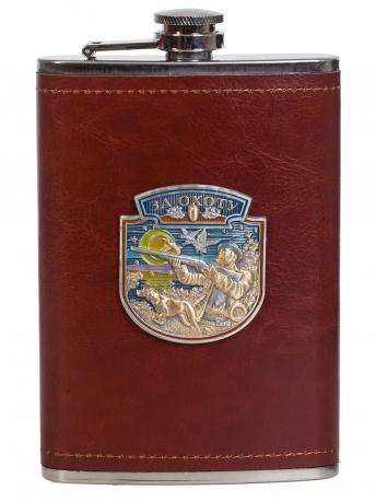 Мужская оригинальная фляга с металлической накладкой За Охоту