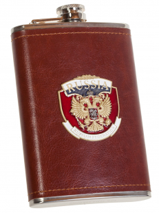 Мужская оригинальная фляга в коже с накладкой Россия - купить в подарок
