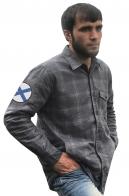 Мужская рубашка в клетку с Андреевским флагом