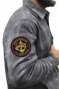Мужская рубашка в клетку с нашивкой Морская пехота 155 ОБрМП КТОФ купить в подарок