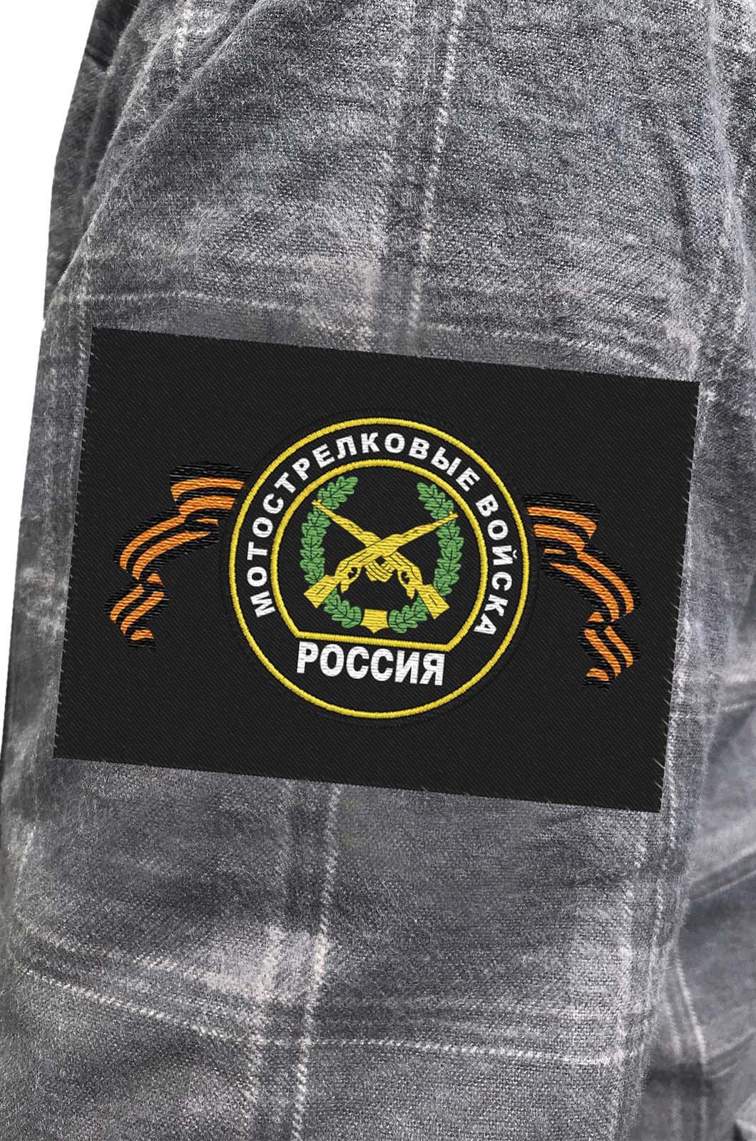 Мужская серая рубашка с вышитым шевроном Мотострелковые Войска - купить оптом