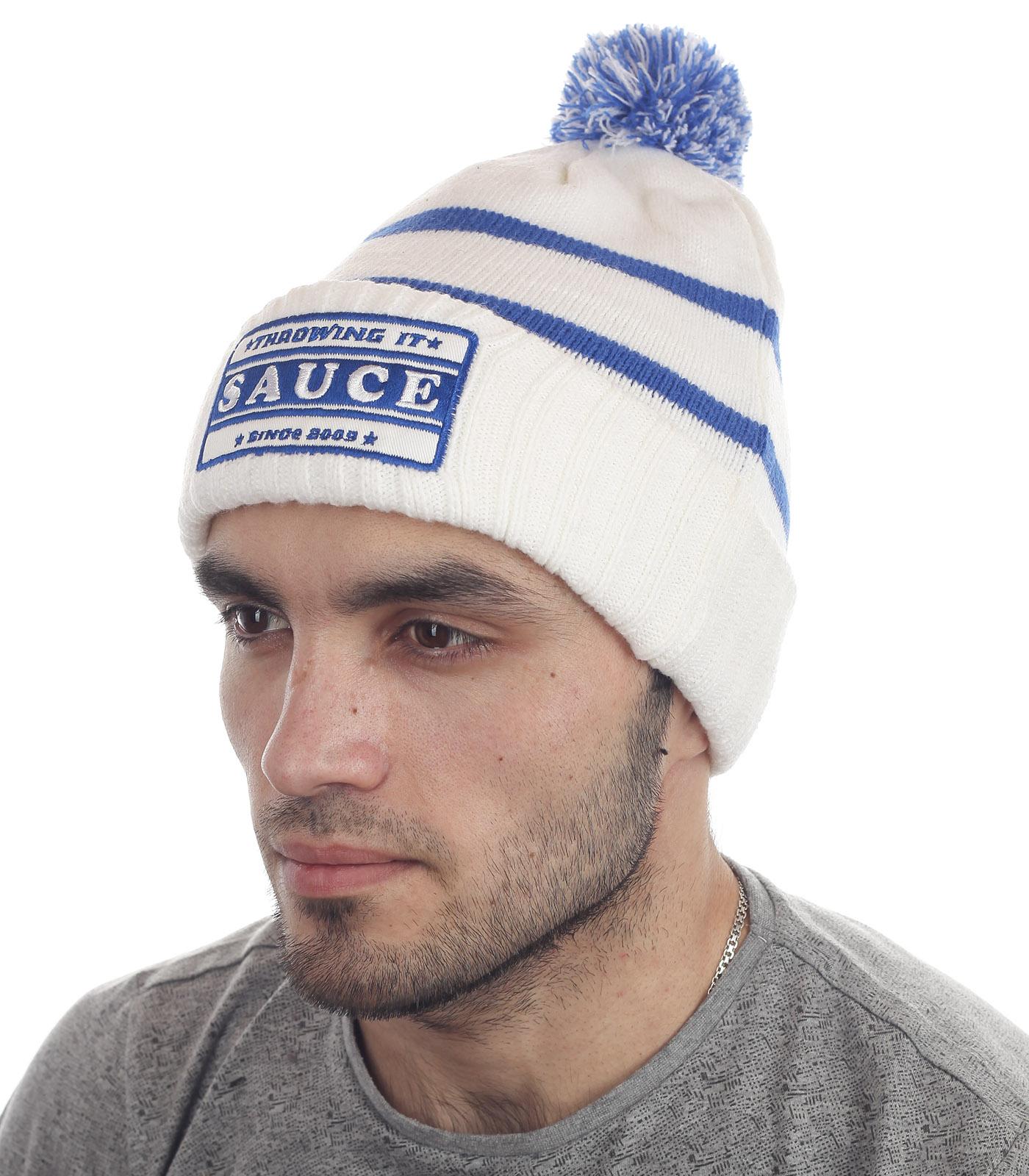 Мужская шапка Sauce с отворотом и бубоном. Модели в стиле Sport casual – тренд этой зимы. Больше никаких компромиссов: тепло, красиво, удобно, а если купить у нас, то и недорого!