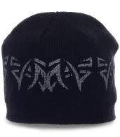 Мужская шапка с ненавязчивым принтом. Теплая модель отличного качества