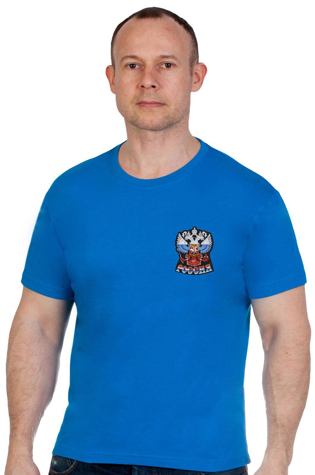 Купить мужскую синюю футболку с Гербом России с доставкой выгодно