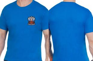 Мужская синяя футболка с Гербом России - купить онлайн