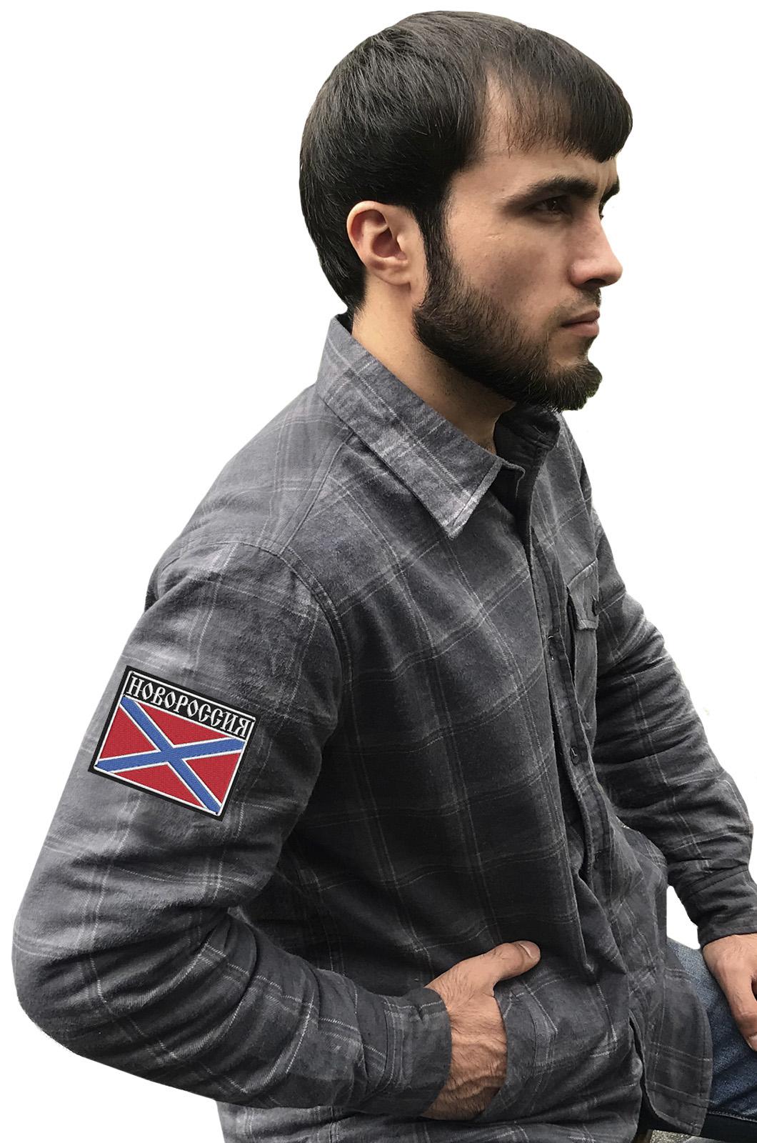 Мужская теплая рубашка с вышитым шевроном Новороссия - купить в розницу