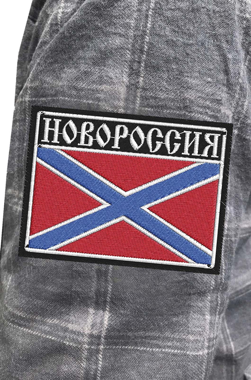 Мужская теплая рубашка с вышитым шевроном Новороссия - купить онлайн
