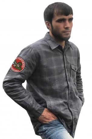 Мужская теплая рубашка с вышитым шевроном страйкболиста