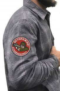 Мужская теплая рубашка с вышитым шевроном страйкболиста - купить в подарок