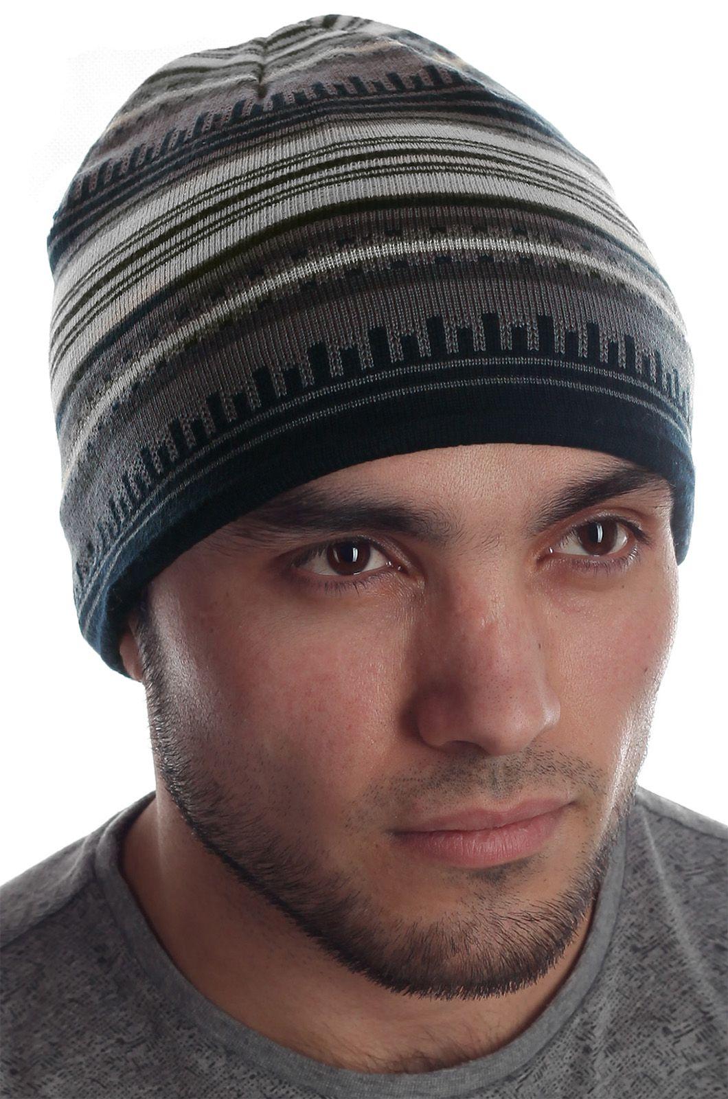 Мужская ультрамодная элегантная шапка с жаккардовым рисунком и флисовой подкладкой