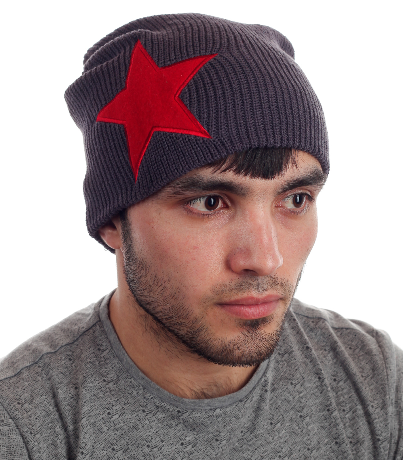 Мужская вязаная шапка Red Star. Поможет в самый холодный день!