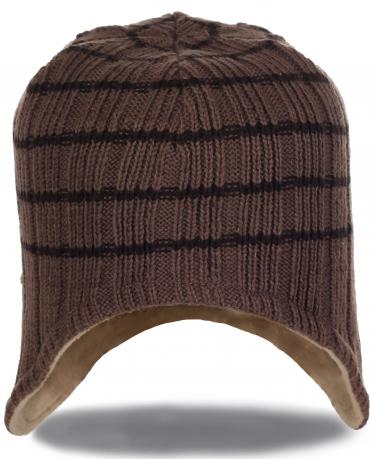 Мужская вязаная шапка с ушками на флисе