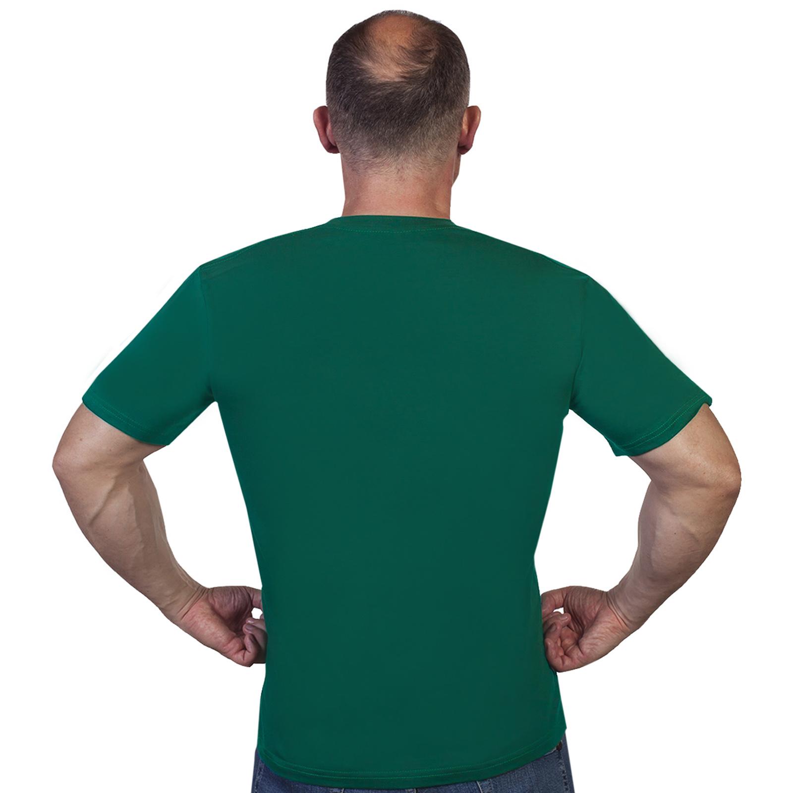 Мужская зеленая футболка с символикой пограничников - отменное качество