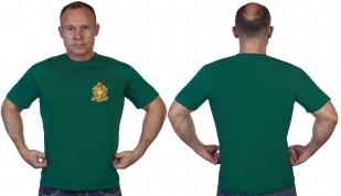 """Мужская зелёная футболка с термотрансфером """"Бывших пограничников не бывает"""" - в розницу и оптом"""