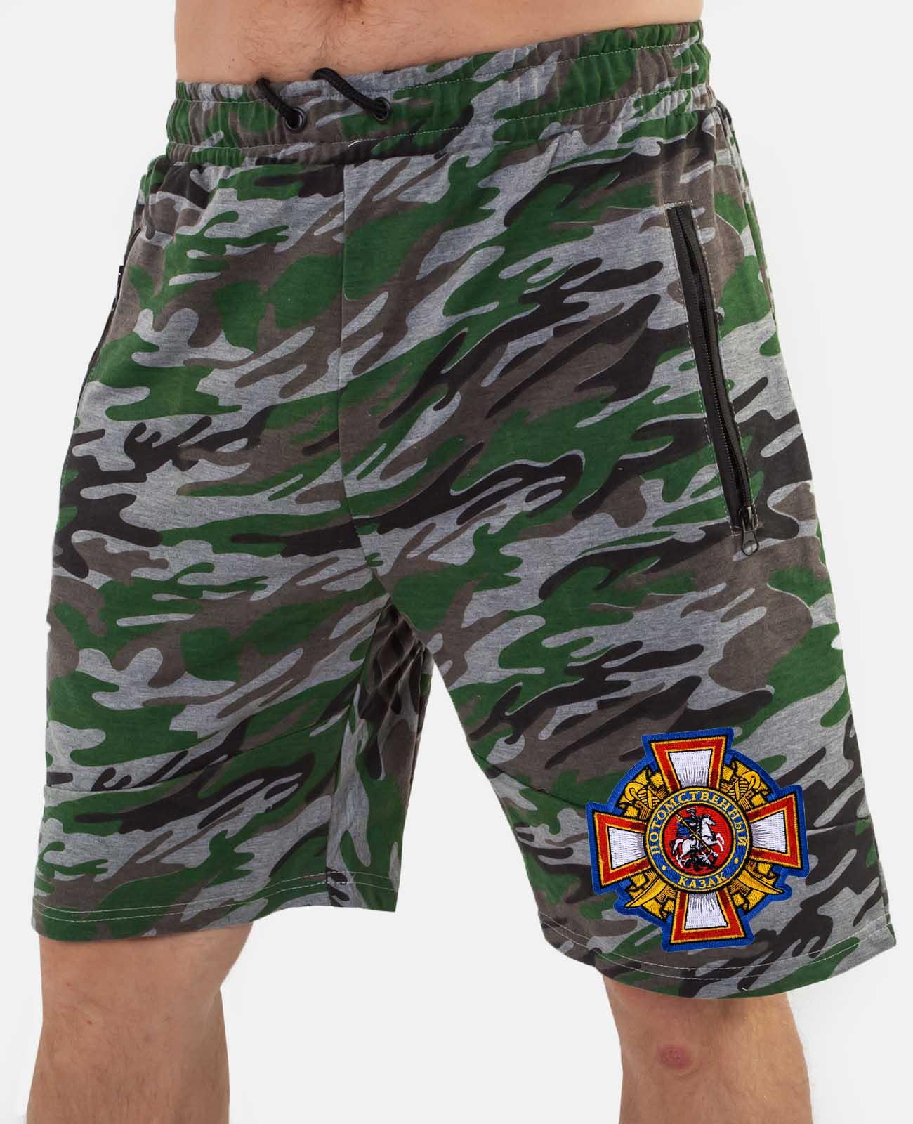 Мужские армейские шорты с казачьей нашивкой заказать в подарок