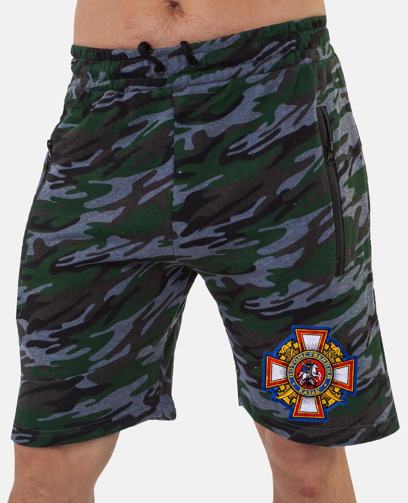 Мужские хлопковые шорты с нашивкой с нашивкой Потомственный казак заказать оптом и в розницу
