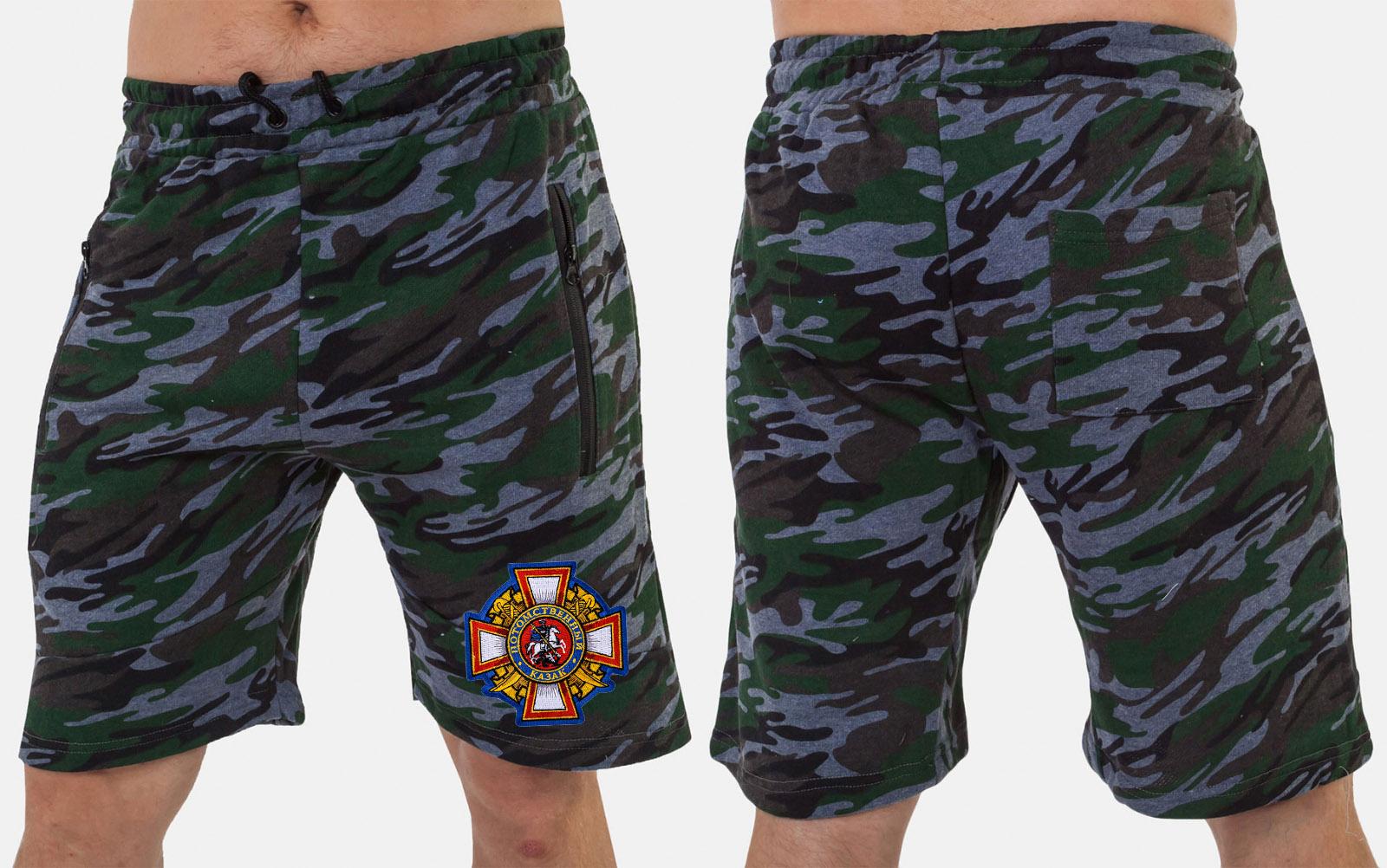 Мужские хлопковые шорты с нашивкой с нашивкой Потомственный казак купить с доставкой