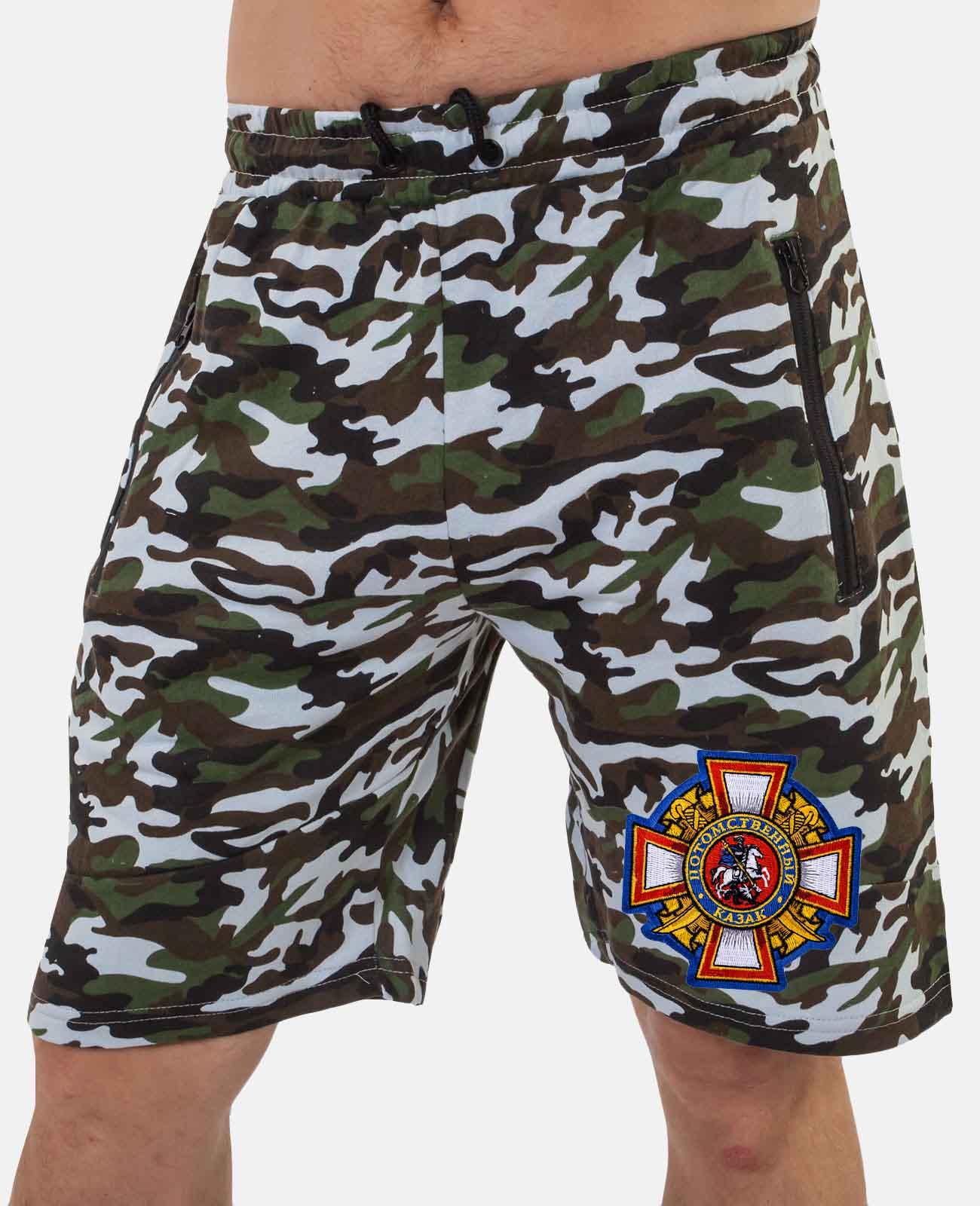 Мужские хлопковые шорты с шевроном Потомственного казака  купить в подарок