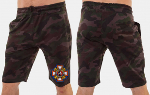 Мужские камуфляжные шорты с эмблемой Потомственный казак купить оптом