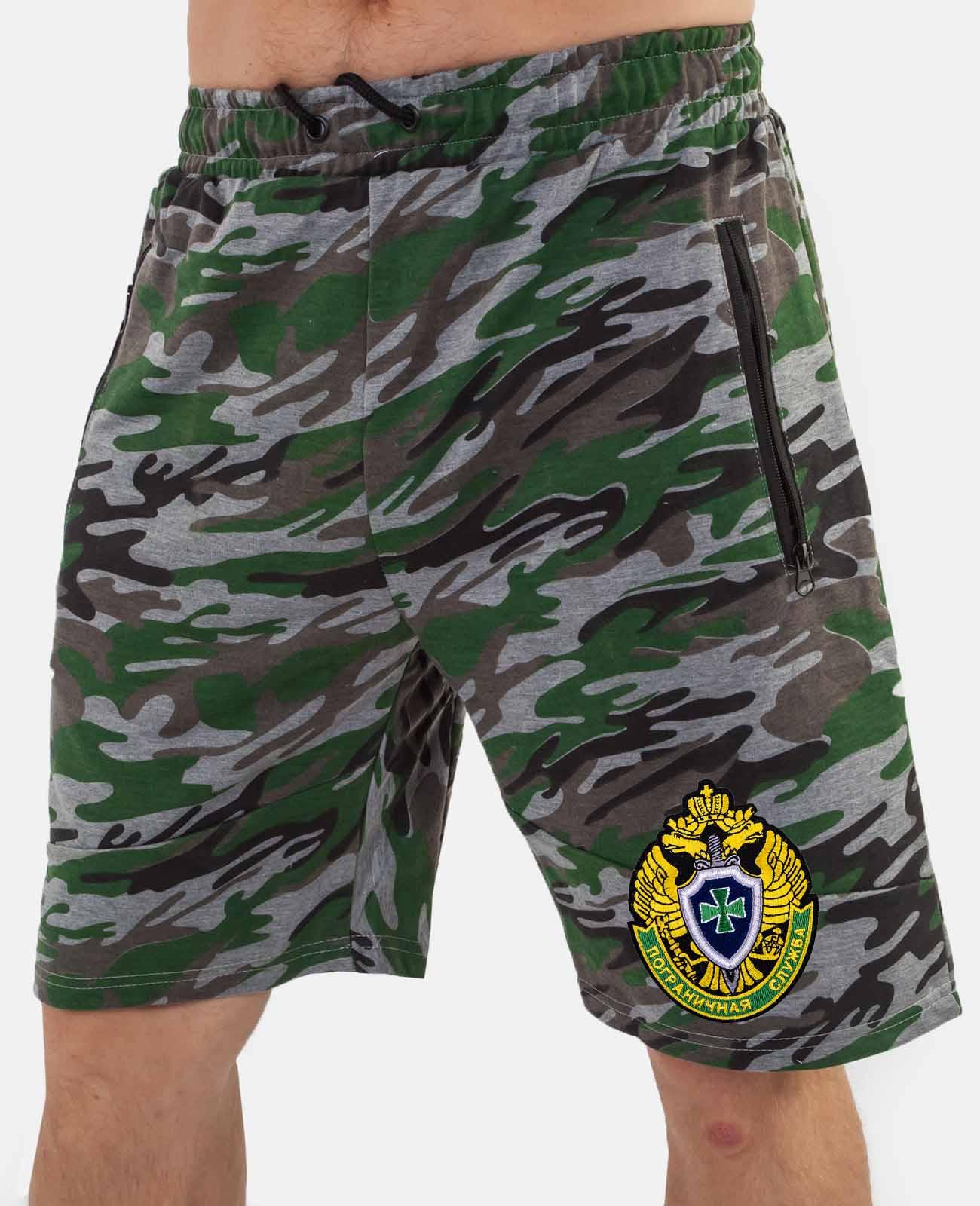 Мужские камуфляжные шорты с нашивкой Погранслужбы заказать с доставкой