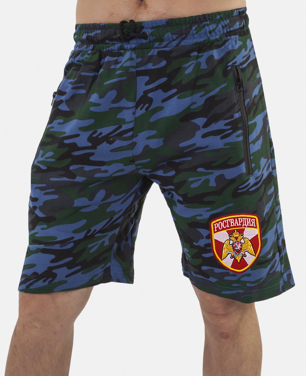 Купить мужские камуфляжные шорты с нашивкой Росгвардия в подарок мужчине