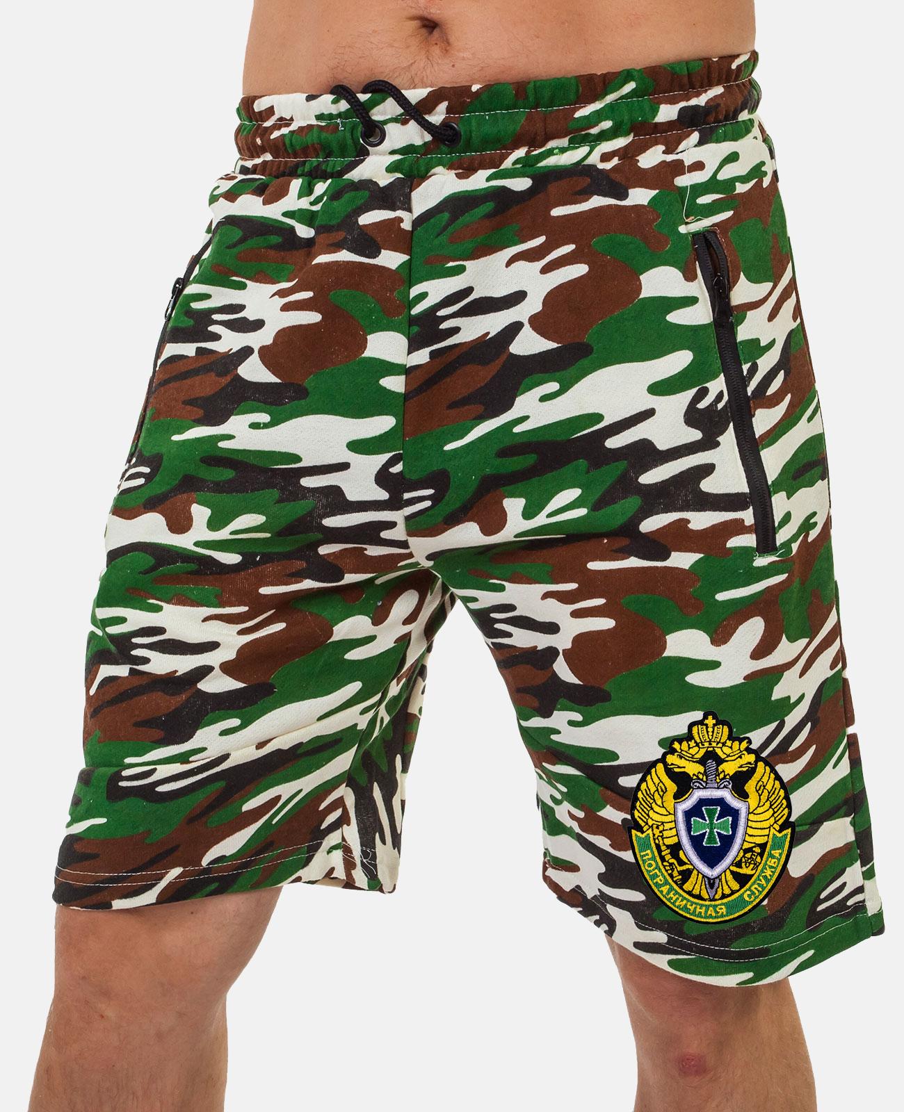 Купить мужские камуфляжные шорты с шевроном Погранслужбы по демократичной цене