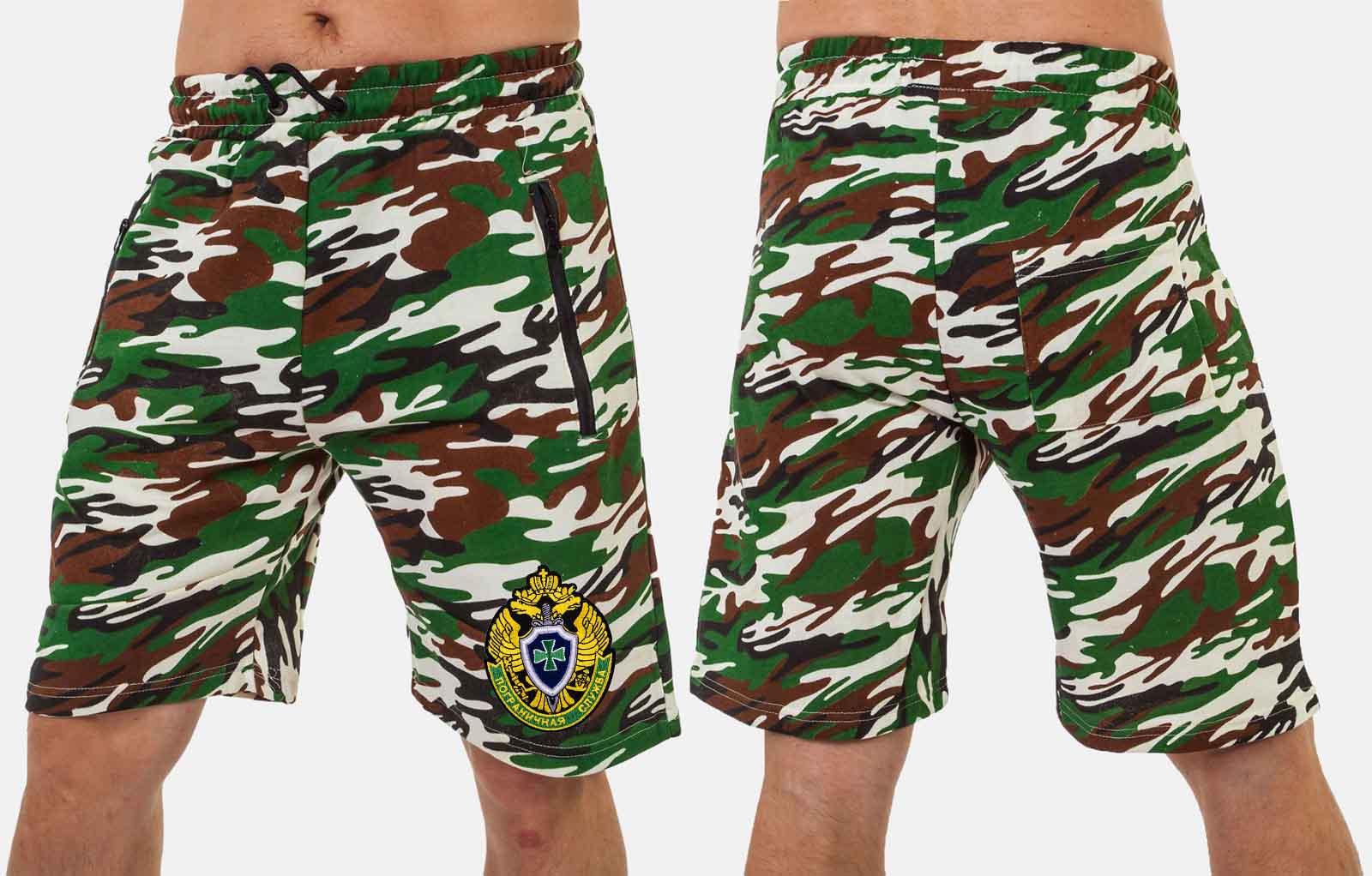 Мужские камуфляжные шорты с шевроном Погранслужбы купить в подарок
