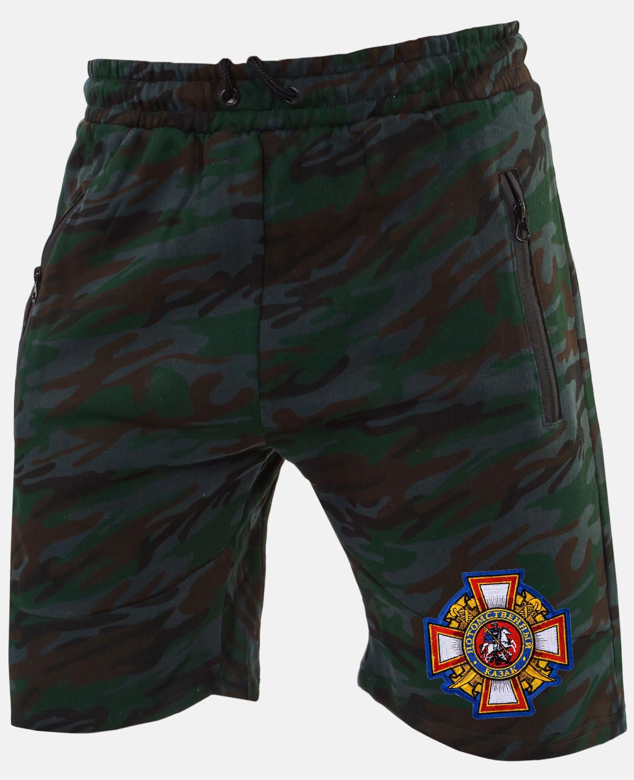 Купить мужские камуфляжные шорты с вышитой нашивкой Потомственный казак