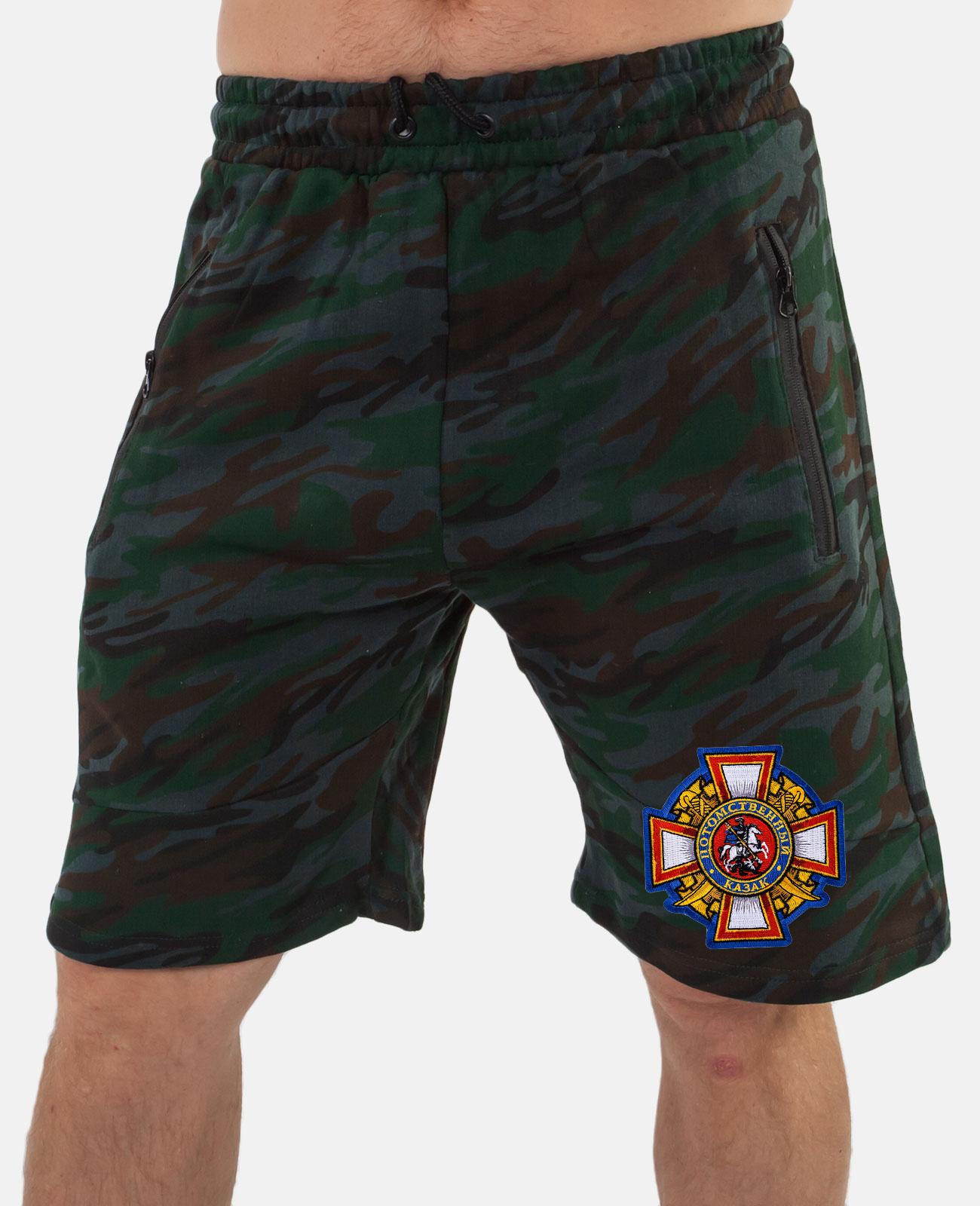 Мужские камуфляжные шорты с вышитой нашивкой Потомственный казак заказать с доставкой