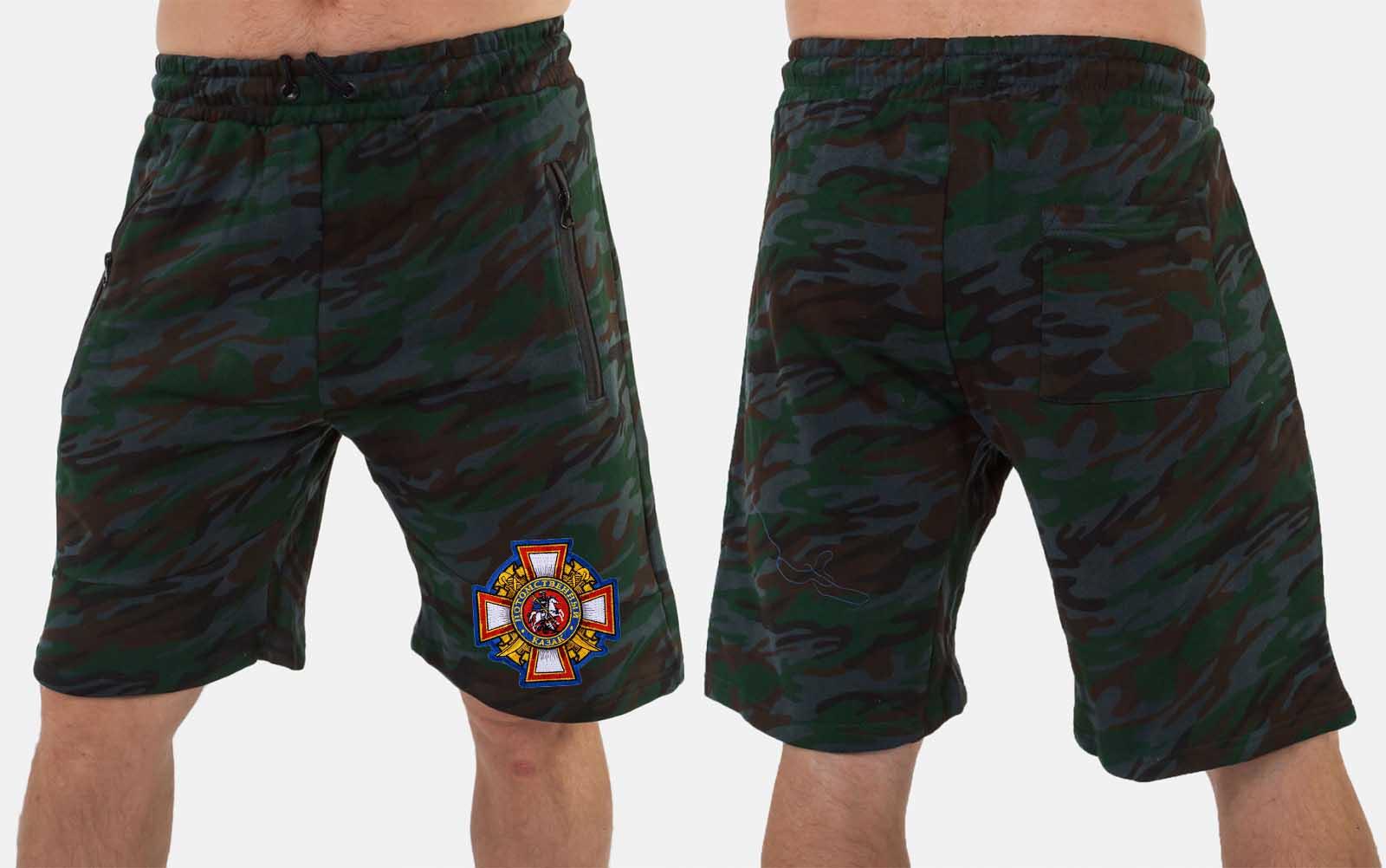 Мужские камуфляжные шорты с вышитой нашивкой Потомственный казак купить в подарок