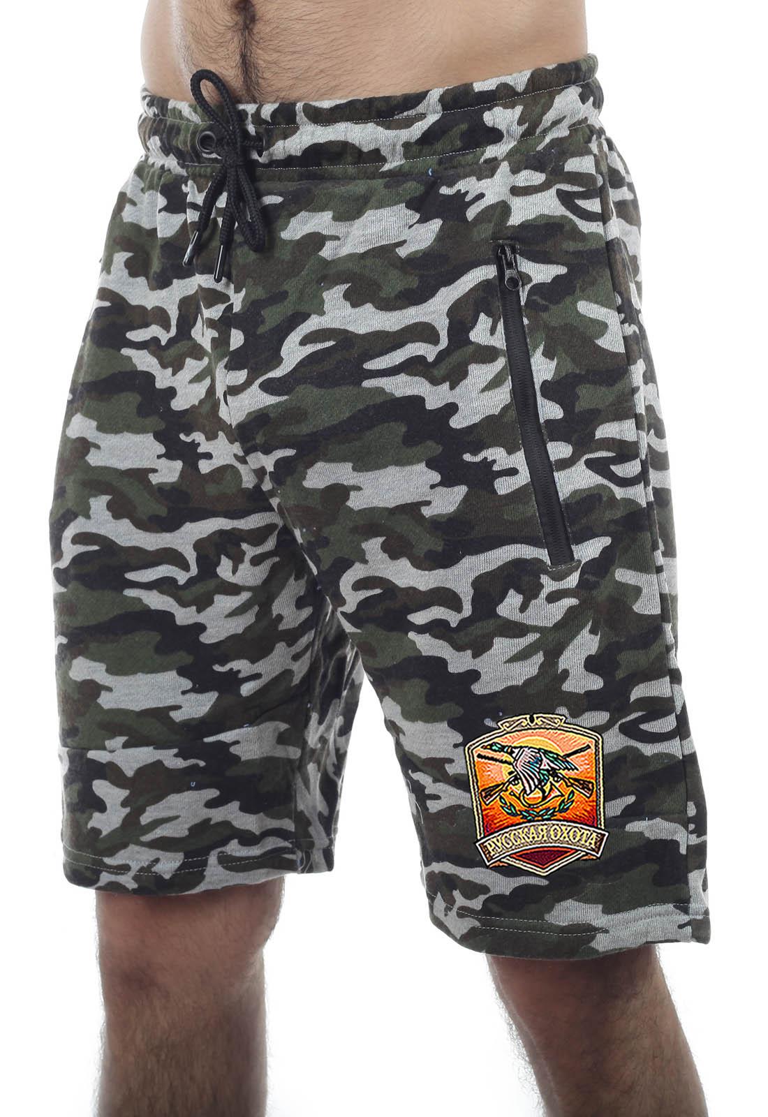 Купить мужские контрастные шорты с нашивкой Русская Охота с доставкой онлайн