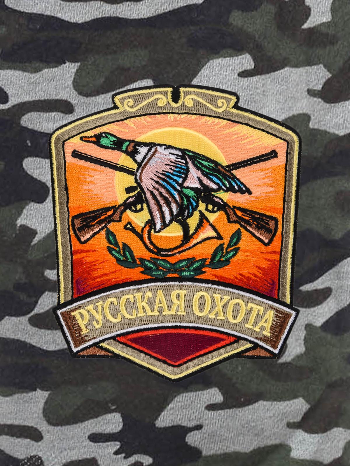 Мужские контрастные шорты с нашивкой Русская Охота